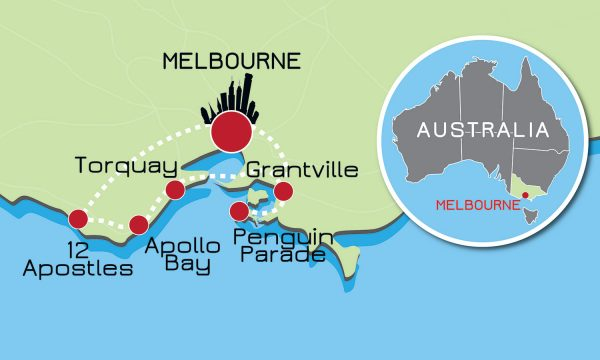 Great Ocean Road and Phillip Island Tour Map